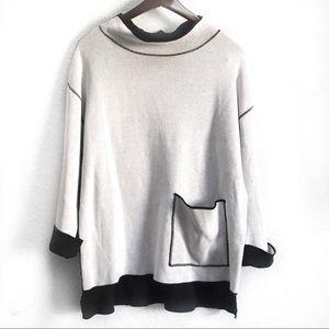 Shannon Passero Mock Neck Oversized Sweater Pocket